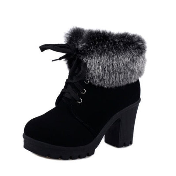 High Heel Winter Shoes Women Winter Boots Fashion Women's High Heel Boots Plush Warm Fur Shoes Ladies Brand Ankle Botas YX328