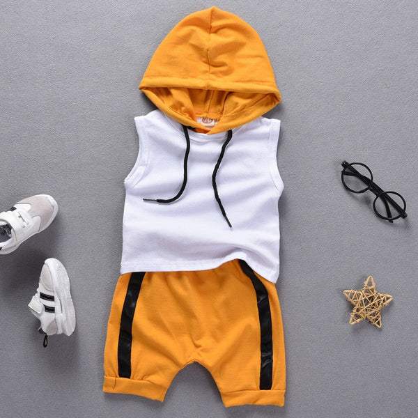 Summer Baby Boys Clothes 2019 Kids Hooded Sleeveless T shirt Shorts Children Clothing Newborn Toddler Boy Outfits 1 2 3 Years