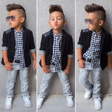 2020 Fall Kids Boy Clothes Set 3 Pieces Suits Coat+plaid T-shirt+Jeans Children little casual boys clothing sets 2-8 Years