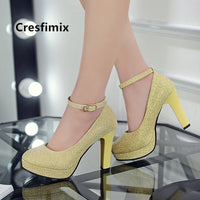 Cresfimix mujer tacones altos women fashion white pu leather high heel shoes lady casual shoes female sexy golden pumps a5338