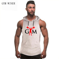 Brand Tops Men Bodybuilding Cotton Tank top Gyms Fitness Hooded Vest Sleeveless Hoodie Casual Fashion Workout Clothing