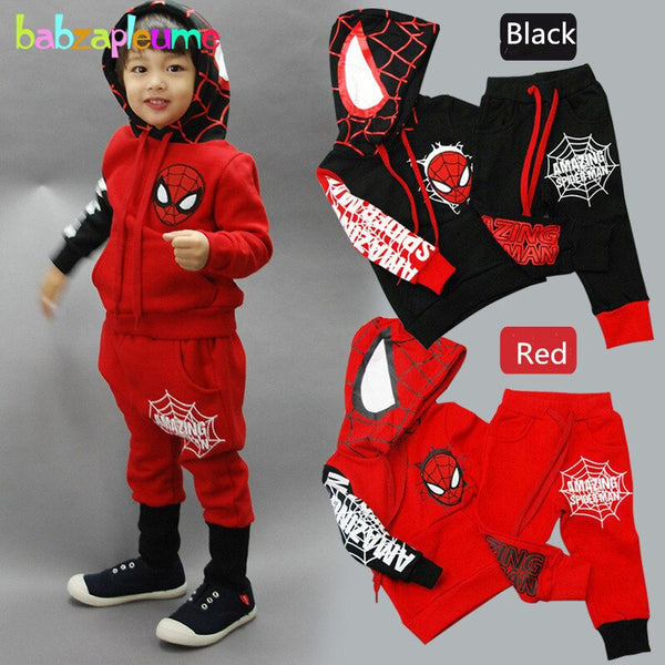 2016 Spring Autumn Kids Boys Clothes Hero Brands Long Sleeve Hooded Tops+Pant 2pcs set Toddler Clothing 2-6Year Baby Suit BC1026