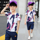 Kids Boys clothes summer outfits Cotton Teenage Boys Clothing casual Suit Children Short Sleeve Shirt Shorts Set 4 6 8 12 Years