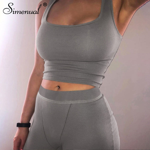 Simenual Casual Sporty Ribbed Women Matching Sets Sleeveless Workout Active Wear 2 Piece Outfits Fitness Tank Top And Shorts Set