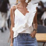 Laamei Women Summer Blouse Shirts Sexy V Neck Ruffle Blouses Backless Spaghetti Strap Office Ladies Sleeveless Casual Tops