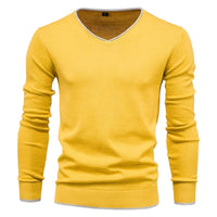 2020 New Cotton Pullover V-neck Men's Sweater Fashion Solid Color High Quality Winter Slim Sweaters Men Navy Knitwear