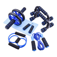 7pcs Gym Fitness Equipment Muscle Trainer Wheel Roller Kit Abdominal Roller Push Up Bar Jump Rope Workout Crossfit Sport Home