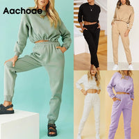 Aachoae Solid Casual Sports Set Women Batwing Long Sleeve Loose Cropped Tops And Elastic Waist Soft Home Full Length Pants Sets