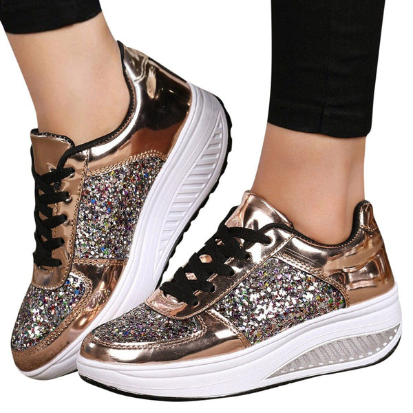 Women's Ladies Wedges Sneakers Sequins Shake Shoes Fashion Girls Sport Shoes women sneakers woman sneakers shoes