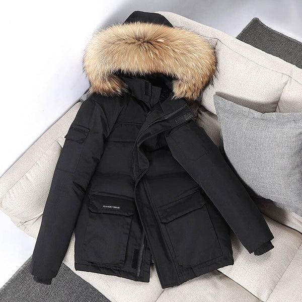-30 Degree Winter Jacket Men Down Parkas Fashion Hooded Fur Collar Waterproof Windbreaker Men Outwear Thick Warm Parkas Coat Men
