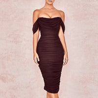 Tobinoone Double Layer Mesh Sexy Party Dress Off Shoulder Elegant Women Dress Ruched 2020 Spring Summer Bodycon Short Dresses