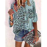 Women Blouse 2020 Sping Tops Turn-down Collar Long Sleeve Leopard Shirt Loose Plus Size Clothing For Women Ladies Blouses