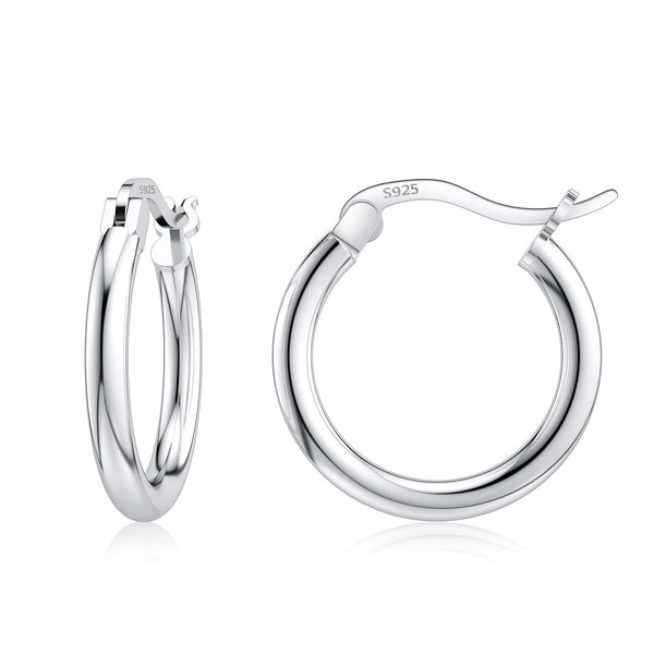 Jiayiqi 925 Sterling Silver 14-35mm Circle Hoop Earrings For Women Birthday Party Simple Noble Silver 925 Fine Jewelry Gift