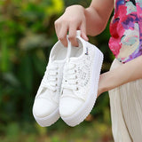 Women shoes 2020 fashion summer casual white shoes cutouts lace canvas hollow breathable platform flat shoes woman sneakers