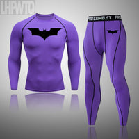 Batman 2 Pcs/Set Men's Tracksuit Compression Sports Wear for Men Gym Fitness Clothes Running Jogging Suits Exercise Workout