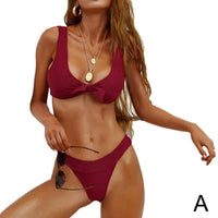 Summer New Sexy Halter Butterfly Bowknot Women Bikini Beach Ladies Suit Swimmimg Color Low Wasit Solid Set Swimwear Swimsui