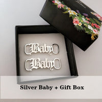 Old English Letter Baby Girl Buckie Fashion Bijoux Femme Stainless Steel Shoe-buckle Punk Shoe Accessories Women Men BFF Gift