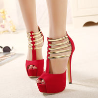Sexy High Heels Women Shoes Platform Peep Toe Wedding Shoes Women Pumps Black Red Shoes Woman High Heel Shoes