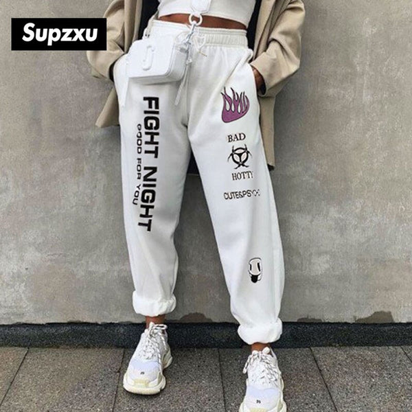 SUPZXU 2020 Men/Women high waist sports pants drawstring fitness loose pants fight night pocket black/white fashion sport pants