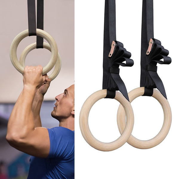 28/32mm Professional Wood Gymnastic Rings  Gym Exercise Sport Pull Ups Muscle Ups Adjustable Long Buckles Straps Workout