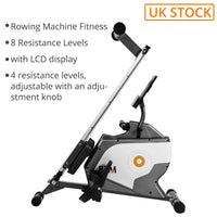 UK STOCK Foldable Rowing Machine Fitness Cardio Workout with Adjustable Magnetic Resistance Quiet Magnetic Braking System 1-year
