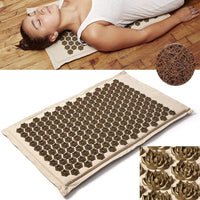 (SHOP NOW) Natural Organic Linen Acupuncture Mat Lotus Spike Massage Pad Cushion Yoga Mat Back/Neck/ Pain Relief Therapy