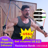 Resistance Bands Set Exercise Bands with Door Anchor Legs Ankle Straps for Resistance Training Physical Therapy Home Workouts
