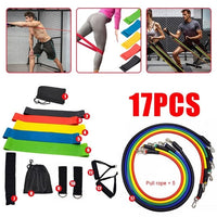 New 17Pcs Resistance Bands Set Yoga Exercise Fitness Band Rubber Loop Tube Bands Gym Fitness Exercise Pilates Yoga Brick