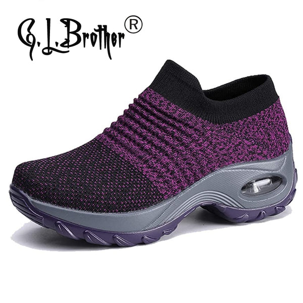 G.l.brother Women's Walking Shoes Sock Sneakers Mesh Slip On Air Cushion Lady Girls Modern Jazz Dance Shoes Platform Loafers