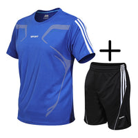 NEW Men's Sport Running Suits Basketball Soccer Training Tracksuits Jersey Summer Fitness Sportswear Gym Clothing Sets Quick Dry
