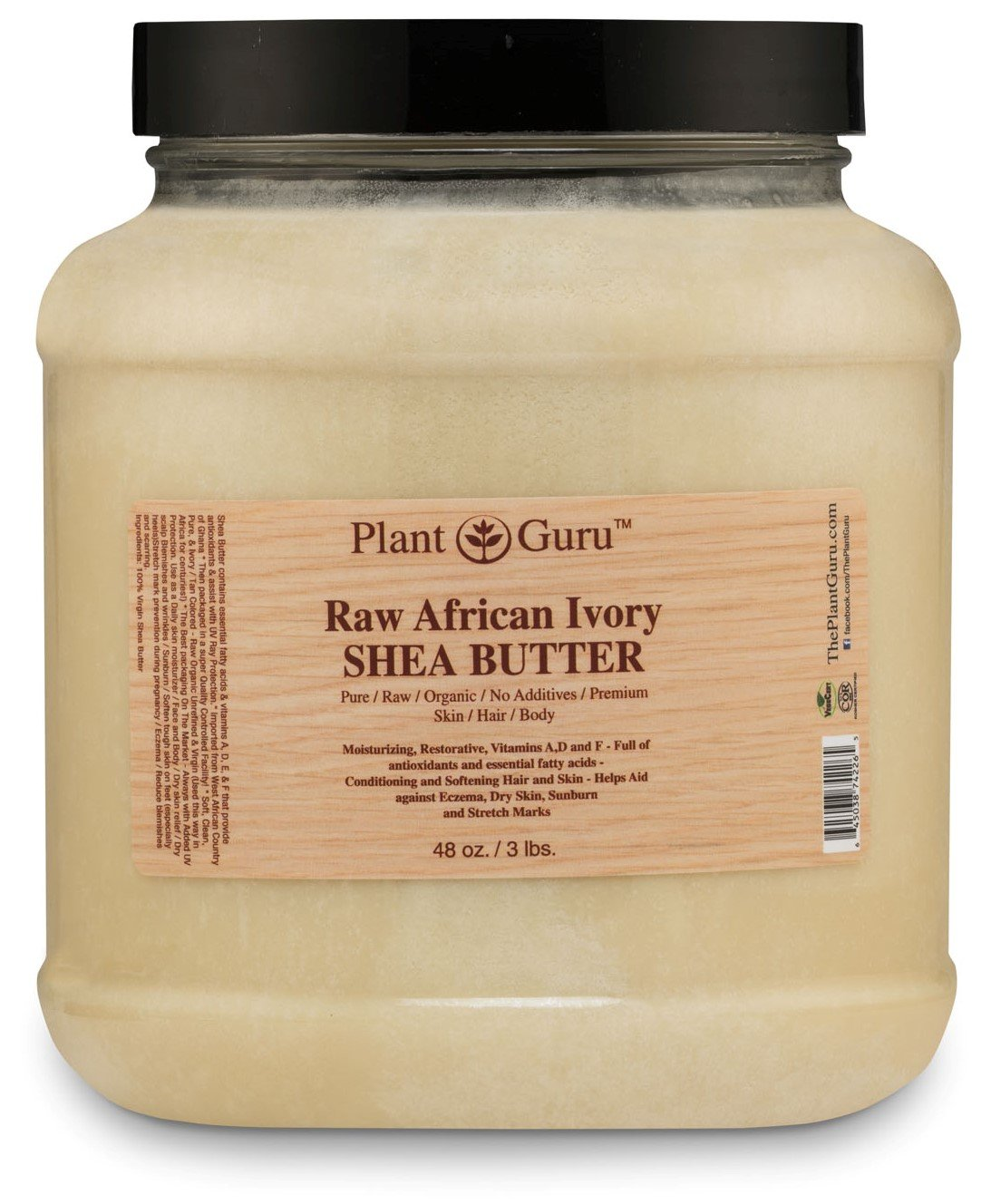 Raw African Shea Butter 3 lbs Bulk Unrefined 100% Pure Natural Ivory / White Grade A DIY Body Butters, Lotion, Cream, lip Balm & Soap Making Supplies, Eczema & Psoriasis Aid, Stretch Mark Product