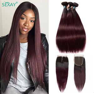 Ombre Human Hair 3 Bundles With Closure Pre-colored Dark 1B 99J Burgundy Red Brazilian Straight Weaves Human Hair With Closure