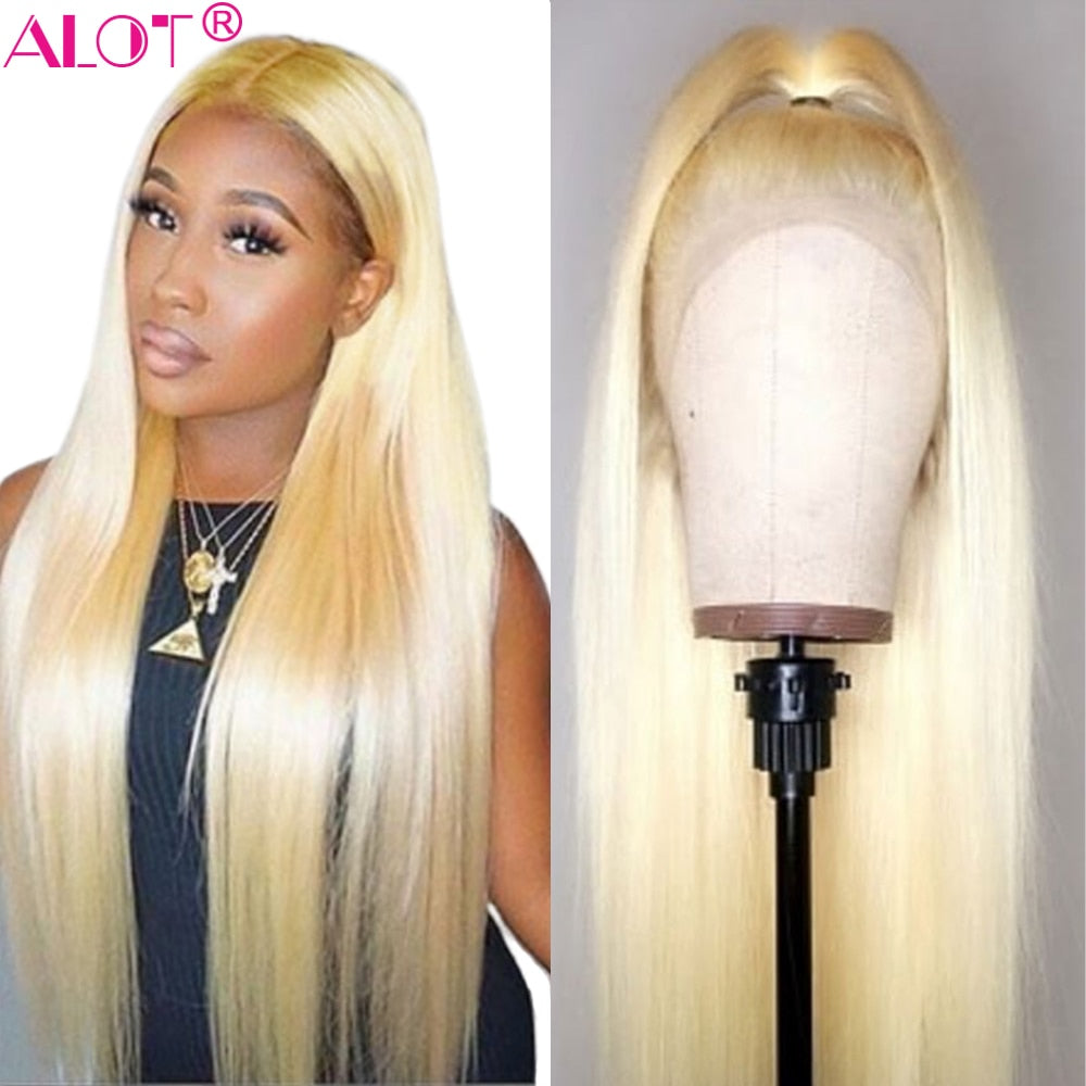 613 Blonde Lace Front Wig Middle Part Brazilian Straight 13x1 Lace Part Human Hair Wigs Pre Plucked Remy Glueless 613 Wig 150%