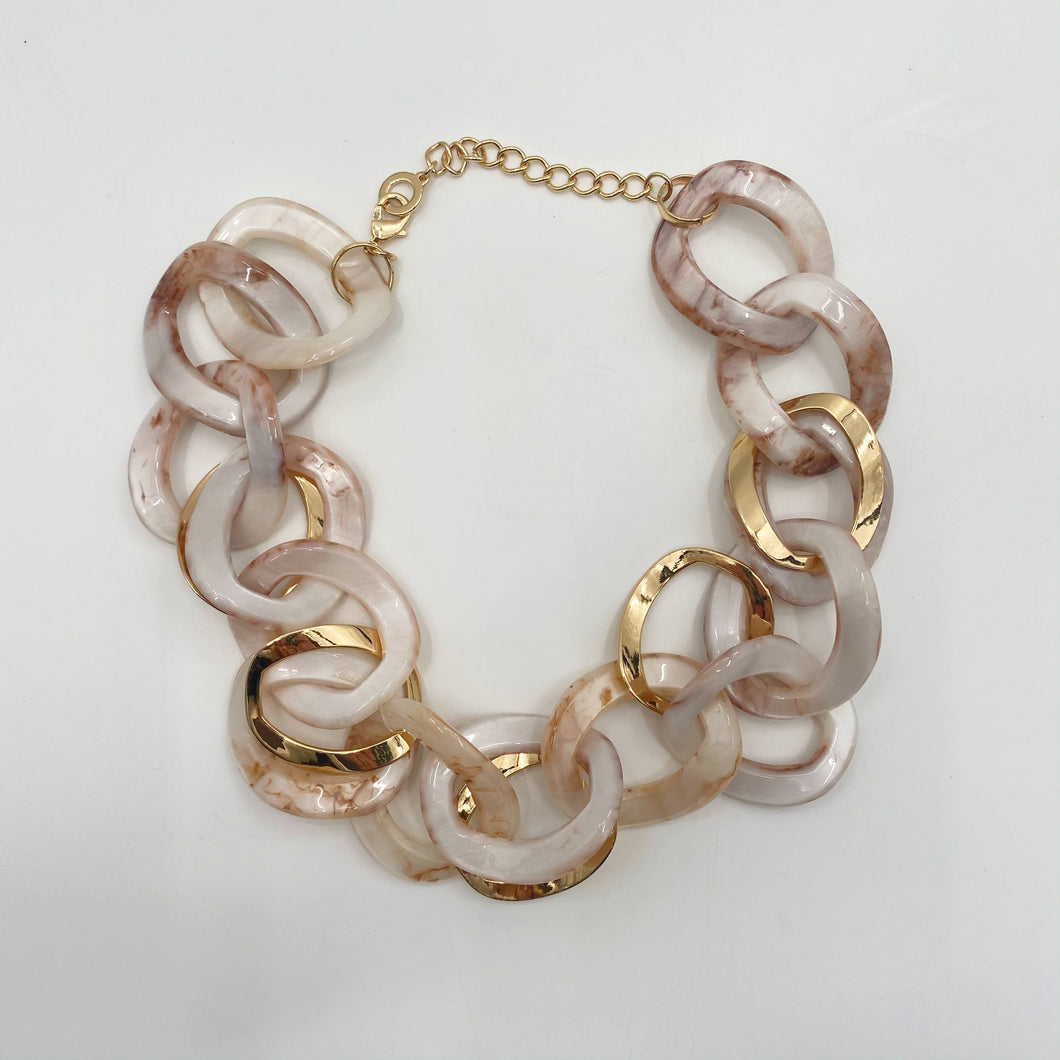 Pearl & Gold Link Necklace