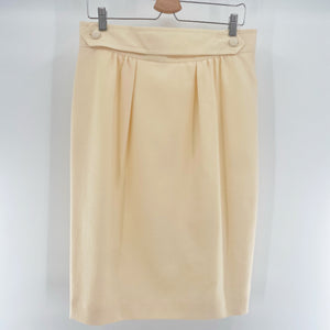 Cream Button Belt Skirt