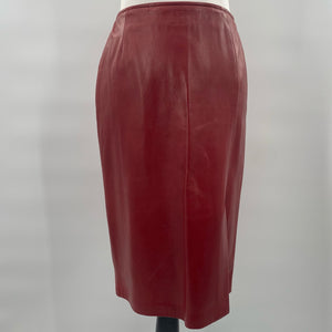 Wine Leather Skirt
