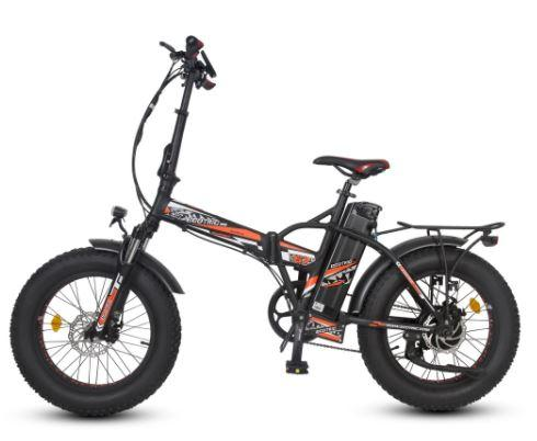 Ecotric 48V Fat Tire Portable and Folding Electric Bike with color LCD display-Black and Red Ecotric
