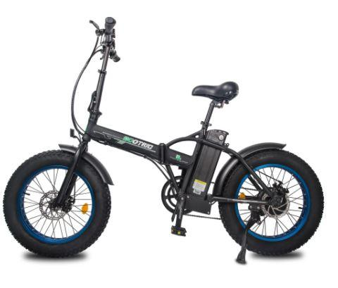 Ecotric 48V Fat Tire Portable and Folding Electric Bike with LCD display-Black and Blue Ecotric