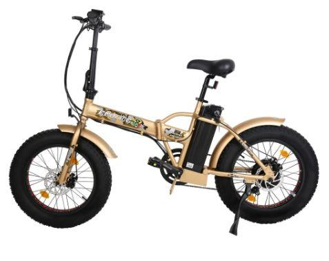 Ecotric 48V Gold portable and folding fat ebike with LCD display Ecotric