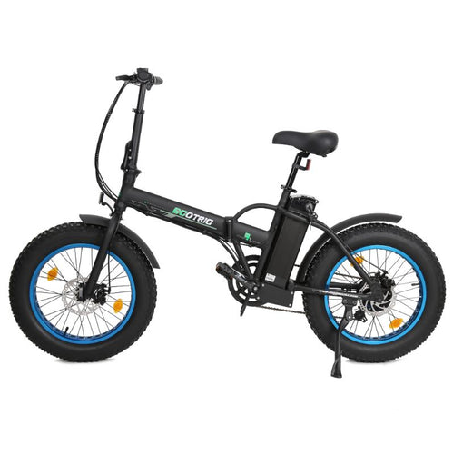 Ecotric Fat Tire Portable and Folding Electric Bike-Matt Black and blue Ecotric