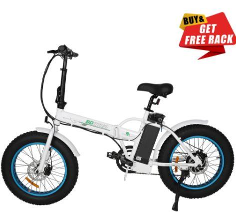 Ecotric Fat Tire Portable and Folding Electric Bike-White and Blue Ecotric