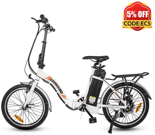 Ecotric Starfish 20inch portable and folding electric bike - White Ecotric