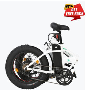 Ecotric White Fat Tire Portable and Folding Electric Bike Ecotric