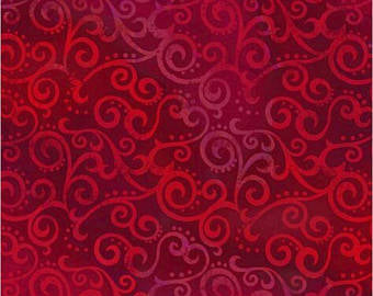 Extra Wide BACKING Fabric 'Ombré Scroll' Ruby