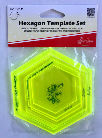 "'Sew Easy' Hexagon Template Set - 1 1/4"", 1 1/2"", 2"""