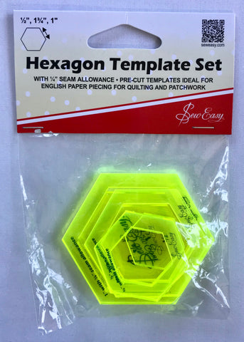 "'Sew Easy' Hexagon Template Set - 1/2"", 1 3/4"", 1"""