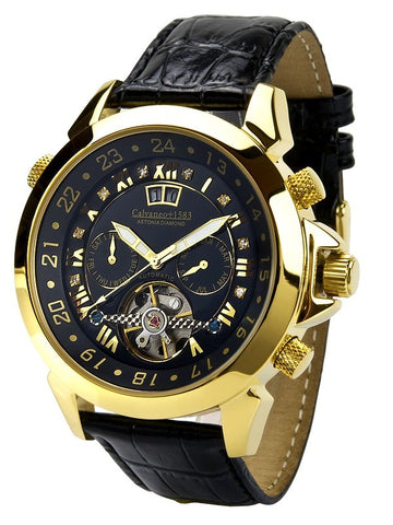 Calvaneo 1583 Astonia Black DIAMOND Gold automatik sat