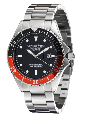 Calvaneo 1583 Dive Carrier Black-Red 46mm