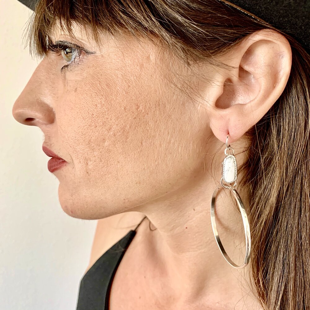 White Buffalo & Silver Hoop Earrings
