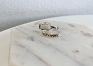 White Buffalo & Silver Serpent Ring